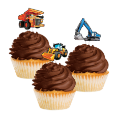 Big Dig Construction Cupcake Cake Toppers Pack of 12