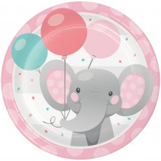 Round Girl Enchanting Elephant Paper Lunch Plates 18cm Pack of 8