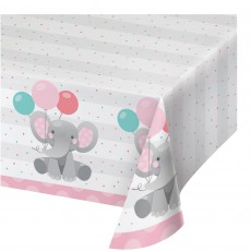 Girl Enchanting Elephant Paper Table Cover