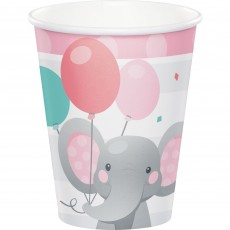 Girl Enchanting Elephant Paper Cups 266ml Pack of 8