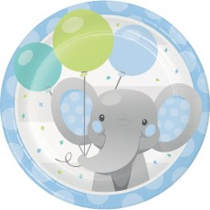 Round Boy Enchanting Elephant Paper Lunch Plates 18cm Pack of 8
