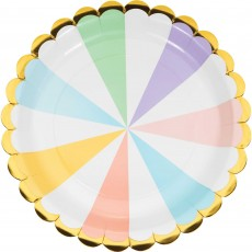 Pastel Celebration Gold Foil Scalloped Paper Dinner Plates