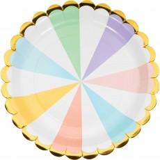 Pastel Celebration Gold Foil Scalloped Paper Dinner Plates