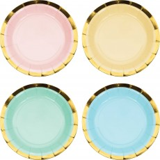 Pastel Celebration Gold Foil Scalloped Paper Lunch Plates