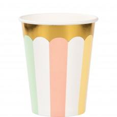 Pastel Celebration Gold Foil Paper Cups 266ml Pack of 8