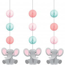 Girl Enchanting Elephant Honeycomb & Cutouts Hanging Decorations