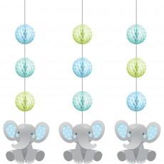 Boy Enchanting Elephant Honeycomb & Cutouts Hanging Decorations Pack of 3