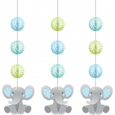 Boy Enchanting Elephant Honeycomb & Cutouts Hanging Decorations