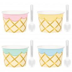 Ice Cream Plastic Spoons & Paper Cups