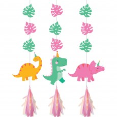 Dinosaur Girl Dino Decor Iridescent Cutouts Hanging Decorations