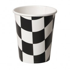 Black & White Check Paper Cups 266ml Pack of 8