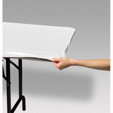 White Stayput Plastic Table Cover