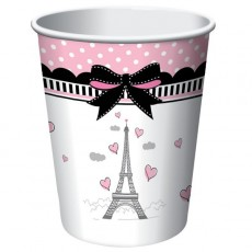 Party in Paris Paper Cups 266ml Pack of 8