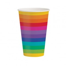 Rainbow Paper Cups 354ml Pack of 8