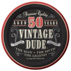 Round Vintage Dude Paper 50th Birthday Lunch Plates 18cm Pack of 8