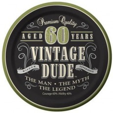 Round Vintage Dude Paper 60th Birthday Lunch Plates 18cm Pack of 8