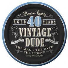 Round Vintage Dude Paper 40th Birthday Lunch Plates 18cm Pack of 8