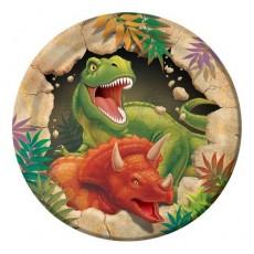 Round Dinosaur Dino Blast Paper Lunch Plates Pack of 8