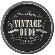 Round Vintage Dude Paper Lunch Plates 18cm Pack of 8