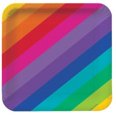 Square Rainbow Lunch Plates 17.4cm Pack of 8