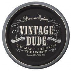 Round Vintage Dude Paper Dinner Plates 23cm Pack of 8