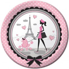Round Party in Paris Dinner Plates 22cm Pack of 8
