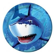 Round Shark Splash Paper Dinner Plates 22cm Pack of 8