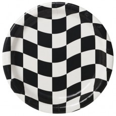 Check Black & White  Dinner Plates