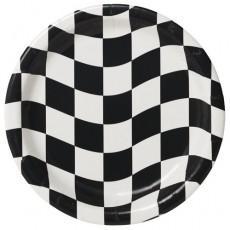 Round Black & White Check Paper Dinner Plates 22cm Pack of 8