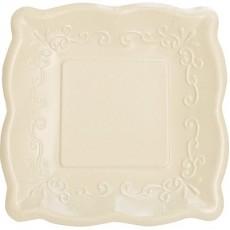 Elise Designs Ivory Linen Pottery Dinner Plates