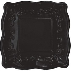 Elise Designs Licorice Black Pottery Dinner Plates