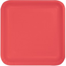 Coral Paper Lunch Plates