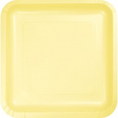 Square Mimosa Yellow Paper Lunch Plates 18cm Pack of 18