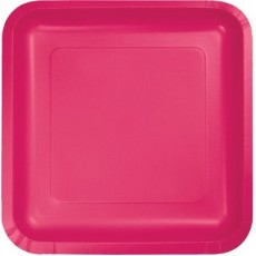 Square Hot Magenta Paper Lunch Plates 18cm Pack of 18