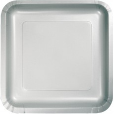 Silver Shimmering Paper Lunch Plates