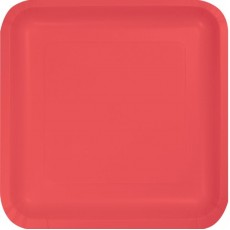 Coral Party Supplies - Dinner Plates Paper Coral 23cm Pack of 18