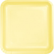 Square Mimosa Yellow Paper Dinner Plates 23cm Pack of 18