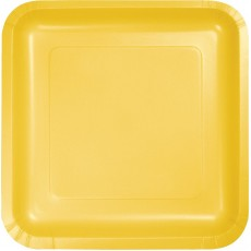 Square School Bus Yellow Paper Dinner Plates 23cm Pack of 18