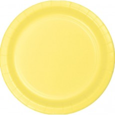 Round Mimosa Yellow Paper Dinner Plates 23cm Pack of 24
