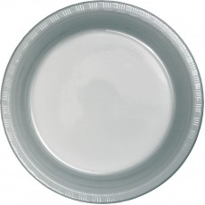 Round Shimmering Silver Paper Dinner Plates 23cm Pack of 24