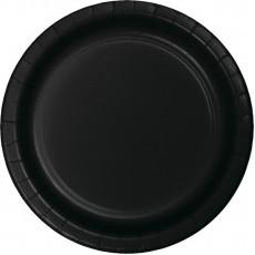 Round Black Velvet Paper Dinner Plates 23cm Pack of 24
