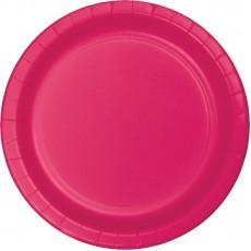 Round Hot Magenta Paper Dinner Plates 23cm Pack of 24