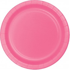 Round Candy Pink Paper Dinner Plates 23cm Pack of 24
