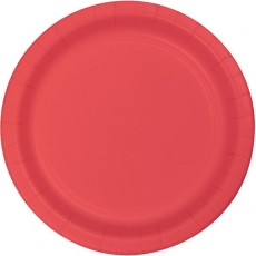 Coral Party Supplies - Dinner Plates Paper Coral 23cm Pack of 24