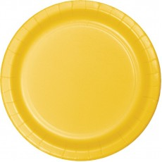 Round School Bus Yellow Paper Banquet Plates 26cm Pack of 24