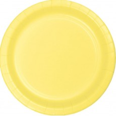 Round Mimosa Yellow Paper Banquet Plates 26cm Pack of 24