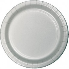 Round Shimmering Silver Paper Banquet Plates 26cm Pack of 24