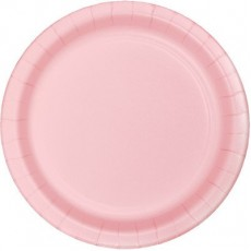 Round Classic Pink Paper Banquet Plates 26cm Pack of 24