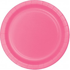 Round Candy Pink Paper Banquet Plates 26cm Pack of 24