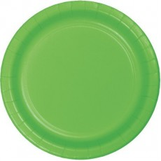 Round Fresh Lime Green Paper Banquet Plates 26cm Pack of 24